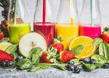 Various Colorful Beverage In Bottles With Fresh Organic Ingredients .Healthy Smoothies Or Juice With Fresh Fruits, Berries And Veg Royalty Free Stock Photo