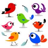 Various colorful birds set stock illustration