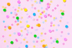 Various colorful confetti background. Top view, flat lay. Bright and festive royalty free stock photography