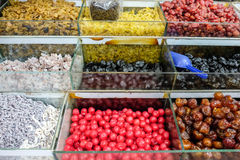 Various colorful dried fruits background in the market Stock Photo