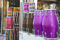 Various colorful drums in asia street market, India Royalty Free Stock Image