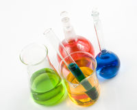 Various colorful flasks Royalty Free Stock Images