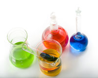 Various colorful flasks royalty free stock photos