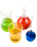 Various colorful flasks. Over white background stock photography