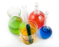 Various colorful flasks royalty free stock photography