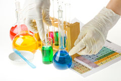 Various colorful flasks Stock Image