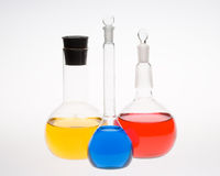 Various colorful flasks Stock Photo