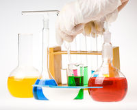 Various colorful flasks Stock Photography