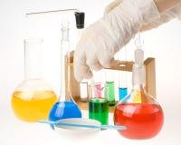 Various colorful flasks Stock Photos