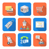 Various colorful flat style business distribution marketing proc Stock Photo