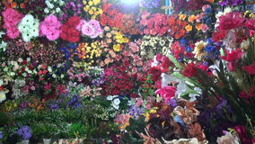 Various colorful flowers in Mumbai  market stock video footage