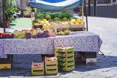 Various colorful fresh fruits in the fruit market, Catania, Sicily, Italy stock images