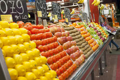 Varioud fruits and vegetables at market Stock Photo