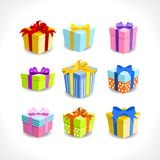 Various colorful gifts royalty free illustration