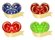 Various colorful hearts. Set colorful herts, element for design. Use ribbon for You greetings on the Valentine's Day Royalty Free Stock Photo