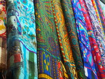 Various of colorful Indian fabrics in market Royalty Free Stock Photos