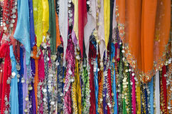 Various colorful indian shawl in street market Stock Photos