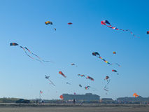 Various Colorful Kites Flying Royalty Free Stock Images