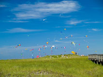 Various Colorful Kites Flying Royalty Free Stock Photos