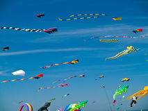 Various Colorful Kites Flying Royalty Free Stock Image