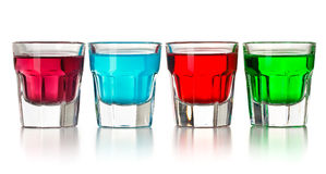 Various colorful liquors Stock Photography