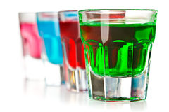 Various colorful liquors Royalty Free Stock Photography