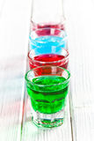 Various colorful liquors Royalty Free Stock Photo