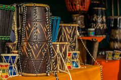 Various colorful musical instruments drums Royalty Free Stock Photography