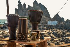 Various colorful musical instruments drums Royalty Free Stock Photos