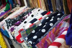 Colorful rolls of clothing textile Royalty Free Stock Photo