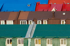 Various colorful roofs. Row of many colorful  roofs. Top view Stock Photo