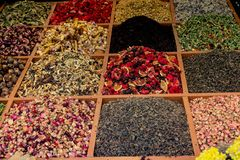 Various colorful spices as Colorful spice background. Variety of spices and herbs as Colorful spice background royalty free stock image