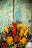 Various colorful spices on wooden table Royalty Free Stock Image