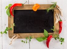 Various colorful spices on wooden table Royalty Free Stock Photos