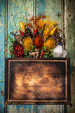 Various colorful spices on wooden table Royalty Free Stock Photography