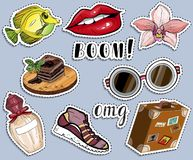 Various colorful sticker set. Fashion and traveling concept royalty free illustration