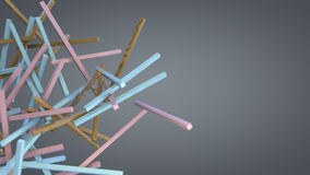 Various colorful sticks floating in empty space. 3 D render of an various colorful sticks floating in empty space.  There are wooden, pink, and light blue Stock Photo