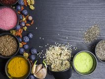 Free Various Colorful Superfoods Collection On Dark Background Stock Images - 145695184