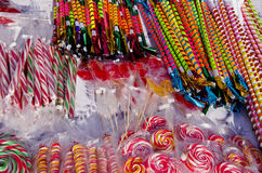 Various colorful sweets in the fair Stock Images