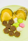 Various colorful Thai dessert on green plate. From Phuket shop, Thailand Stock Images