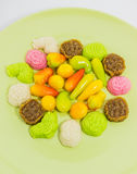 Various colorful Thai dessert on green plate Stock Photography