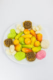 Various colorful Thai dessert on white plate Stock Images
