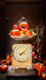 Various of colorful  tomatoes on vintage scales over rustic wooden background Royalty Free Stock Photography