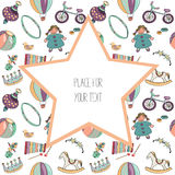 Various colorful toys for kids. Seamless pattern. With big star with plave fot text. Vector illustration on white background. Hand drawn colorful toys for kids stock illustration