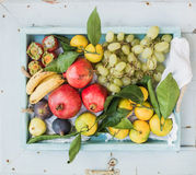 Various colorful tropical fruit selection in blue wooden tray, top view, horizontal Stock Images