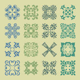 Various Colors of Damask Style Symbol Sets. Original Pattern and Royalty Free Stock Photos