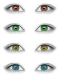 Various colors eyes  isolated on white background Stock Photography