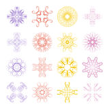 Various Colors of Flower and Plant Symbol Sets. Original Pattern Royalty Free Stock Photos
