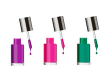 Various colors of nail lacquers, contained in transparent bottles on white background. Set of various colors of nail lacquers, contained in transparent glass royalty free illustration