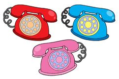 Various colors telephones Royalty Free Stock Image
